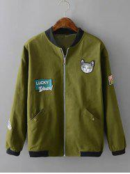 Plus Size Kitten Applique Zipped Bomber Jacket