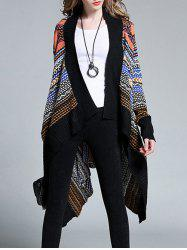 Plus Size Ethnic Print Asymmetrical Cardigan - BLACK