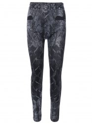 Abstract Print Jeggings - BLACK