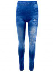 Butterfly Print Skinny Jeggings Faux Jean Leggings - BLUE ONE SIZE