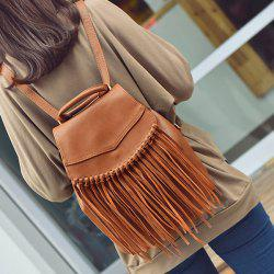 PU Leather Knotted Fringe Snap Closure Backpack