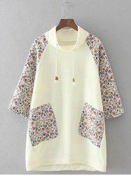 Plus Size Retro Printed Patched Hoodie - BEIGE 3XL