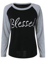 Raglan Sleeve Blessed Baseball Sweatshirt - BLACK XL