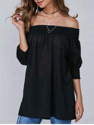 Ruffled Off The Shoulder Blouse - BLACK XL
