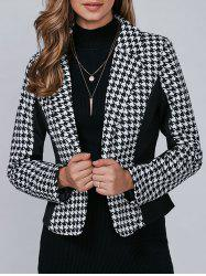 Houndstooth Pattern One Button Blazer - BLACK L