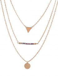 Triangle Coin Beads Charm Layered Necklace