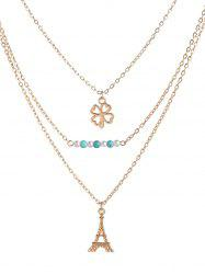 Clover Eiffel Tower Beads Layered Necklace - GOLDEN