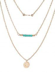 Beads Coin Bar Layered Necklace -