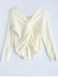 V Neck Knotted Back Chunky Jumper Sweater -