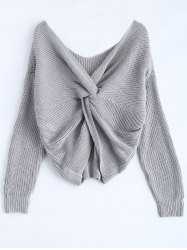 V Neck Knotted Back Chunky Jumper Sweater - GRAY