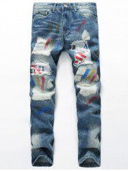 Splash-Ink Distressed Zipper Fly Patch design Straight Leg Jeans - Bleu Clair