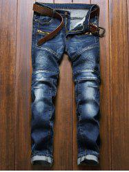 Moto Design Zipper Fly Straight Leg Jeans - BLUE