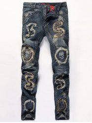 Distressed Stud Embellished Zipper Fly Straight Leg Jeans -