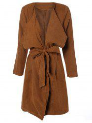 Draped Wrap Coat with Belt - CAMEL