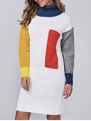 Turtleneck Color Block Long Sleeve Sweater Dress - WHITE