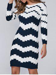 Wave Jacquard Pullover Sweater Dress