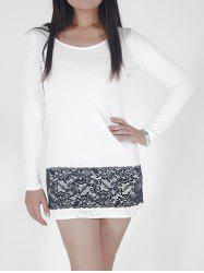 Long Sleeve Fitted Dress with Lace - WHITE XL