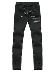 Zip Fly Design Drawstring Waist Pants -