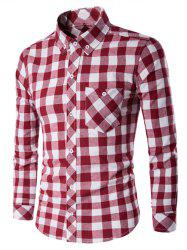 Button-Down Checked Turn-Down Collar Shirt