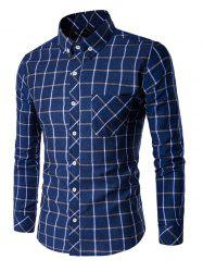 Button-Down Plaid Turn-Down Collar Shirt - DENIM BLUE XL