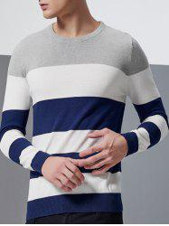 Color Block Splicing Design Crew Neck Long Sleeve Sweater