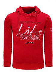 Hooded Graphic Printed Thicken Fleece Hoodie - RED L