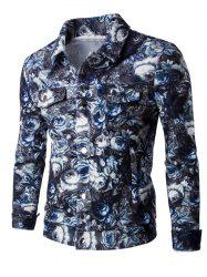 Turn-Down Collar Flower Pattern Pockets Design Bomber Jacket