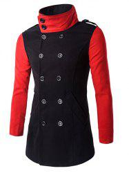 Turn-Down Collar Color Block Pea Coat -