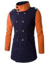 Double-Breasted Turn-Down Collar Color Block Splicing Woolen Coat -