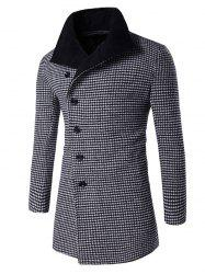 Single-Breasted Houndstooth Pattern Woolen Coat - BLACK