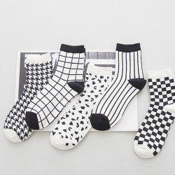 One Set Cross Plaid Vertical Stripes Pattern Socks