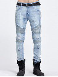 Zip Fly Ripped Skinny Biker Jeans - BLUE