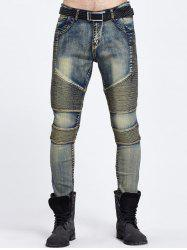 Zipper Fly Skinny Biker Jeans - BLUE
