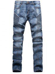 Ribbed Panel Scratched Zipper Fly Five-Pocket Jeans - BLUE