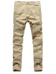 Zipper Fly Ribbed Panel Ripped Jeans -