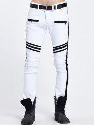 Zippered Pocket Contrast Panel Skinny Jeans - WHITE