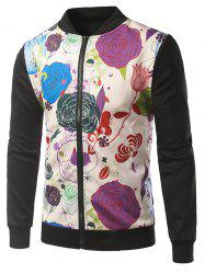 Rib Insert Floral Printed Zip Up Jacket -