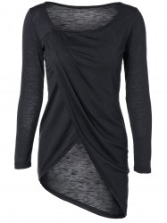 Scoop Neck Asymmetric Wrap T-Shirt - BLACK XL