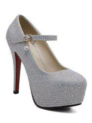 Sequined Rhinestone Stiletto Heel Pumps