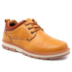 PU Leather Stitching Color Splice Casual Shoes - EARTHY
