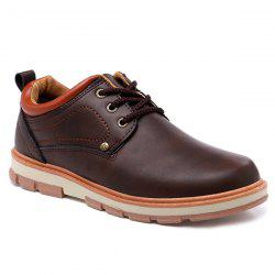 PU Leather Stitching Color Splice Casual Shoes -