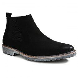 Vintage Slip-On Suede Ankle Boots - BLACK