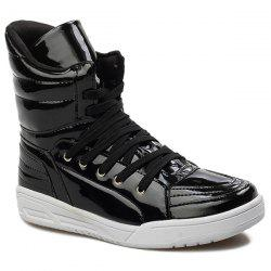 Casual Lace-Up Patent Leather Boots - BLACK 43