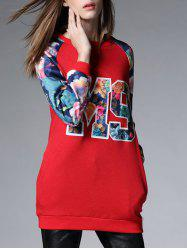 Longue Thickening Floral Sweatshirt - Rouge