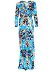 Wrap Abstact Long Sleeve Maxi Dress