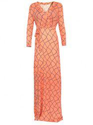 Wrap Wavy Checked Long Sleeve Maxi Evening Dress - ORANGEPINK 5XL