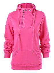 Drawstring Pocket Design Zippered Hoodie -