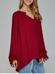 V-Neck Asymmetrical Fringed Blouse -