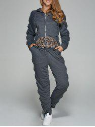 Leopard Print Zipper Design Sports Suit -