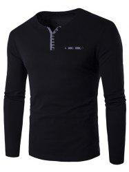 Notch Neck Button Embellished Long Sleeve T-Shirt - BLACK